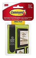 Command 大型絵画吊り下げストリップ ホワイト 24セット 12-Sets ブラック
