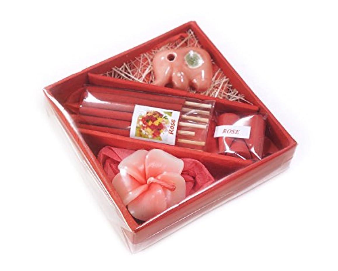 花お香とお香ホルダーin Squareギフトセット4インチ M レッド INC