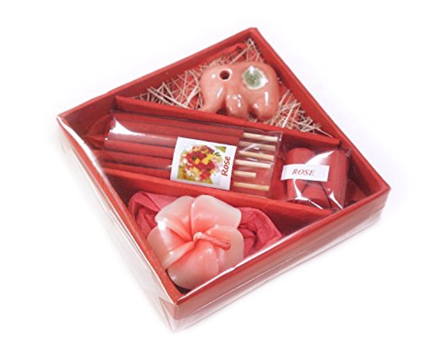 寝るリベラルブロッサム花お香とお香ホルダーin Squareギフトセット4インチ M レッド INC