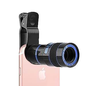 スマホ望遠レンズ 携帯カメラレンズ 望遠 8倍 カメラ ズーム レンズ スマホ クリップ式 高画質 挟みタイプ 簡単装着 Iphone&Android多機種対応 運動会 コンサート アウトドア 撮影に適用 (ブラック)