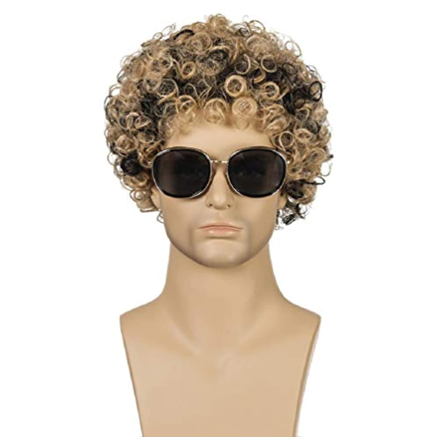 デコラティブミント土砂降りファッション男性かつらブラジル高合成耐熱繊維ショートヘア変態カーリーウィッグ混合色25センチ