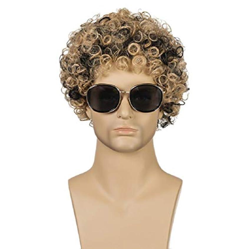 トースト風変わりな慰めファッション男性かつらブラジル高合成耐熱繊維ショートヘア変態カーリーウィッグ混合色25センチ