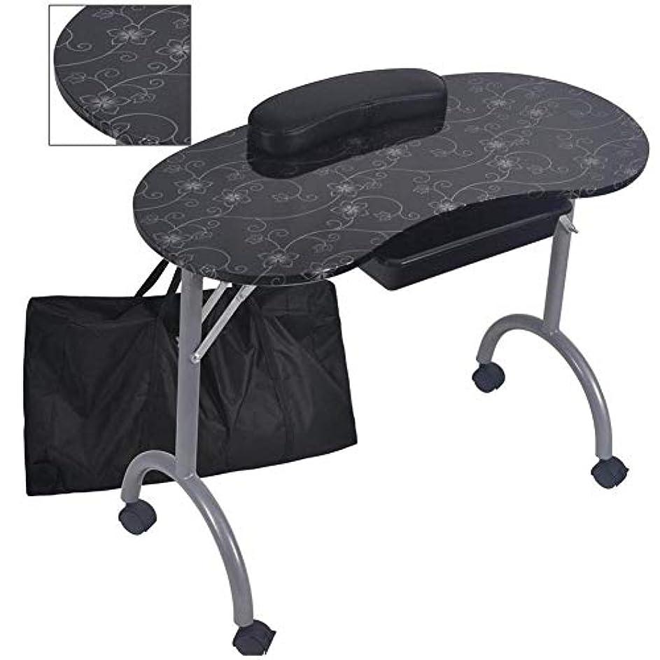 補体温度計椅子マニキュアテーブルポータブル折りたたみワークステーションビューティーサロン折りたたみネイルアート機器ツールバッグ付き