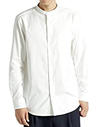 (モノマート) MONO-MART ハイストレッチ L/S オックスフォード シャツ バンドカラー ボタンダウン オックスシャツ メンズ