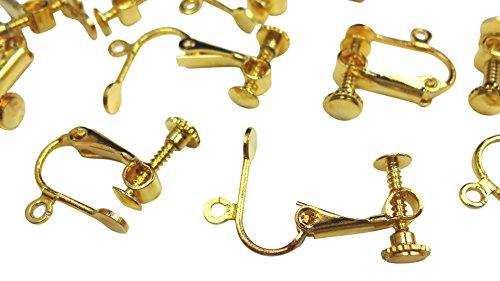 【HARU雑貨】イヤリングパーツ 20個(10ペア)セット 金/ネジバネ式 平皿/ハンドメイド 金具 (ゴールド)