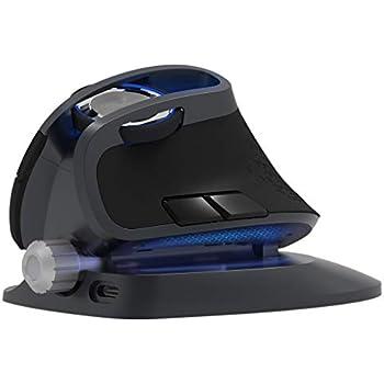 無線垂直マウス、JTDエルゴノミクスマウス、充電可能、垂直角度調整可能、600/1200/1600/4000 DPI 、LEDライト付き、カスタマイズ可能なボタン6つ搭載、オフィス長時間連続使用に最適、Windows 2000/XP/Vista/7/8/10を対応可能