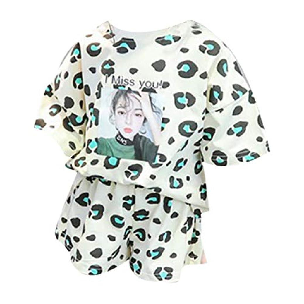 誘惑完了目の前のRad子供 夏女の赤ちゃんカジュアル半袖ヒョウ柄Tシャツトップス+ショーツスーツコスチュームセット