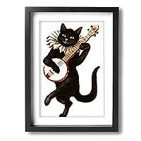 ネコ ギター30*40cm ファッション可愛い壁掛けキャンバス絵画壁アート