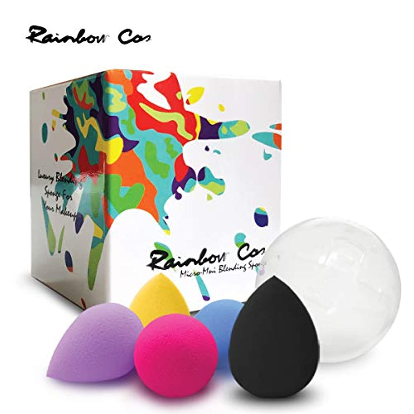 骨の折れる絵きつくRainbow Cos 5 PCS Micro Mini Makeup Blender Beauty Sponge set, Foundation Blending Sponge,Flawless for Liquid,...