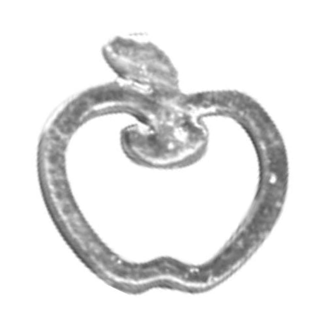 釈義休憩するユニークなリトルプリティー ネイルアートパーツ リンゴ SS シルバー 10個