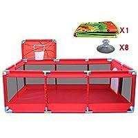 バスケットボールのフープとマットの安全な男の子ガールズプレイセンターヤードポータブル折り畳み幼児ホーム活動エリアフェンス10パネル、赤