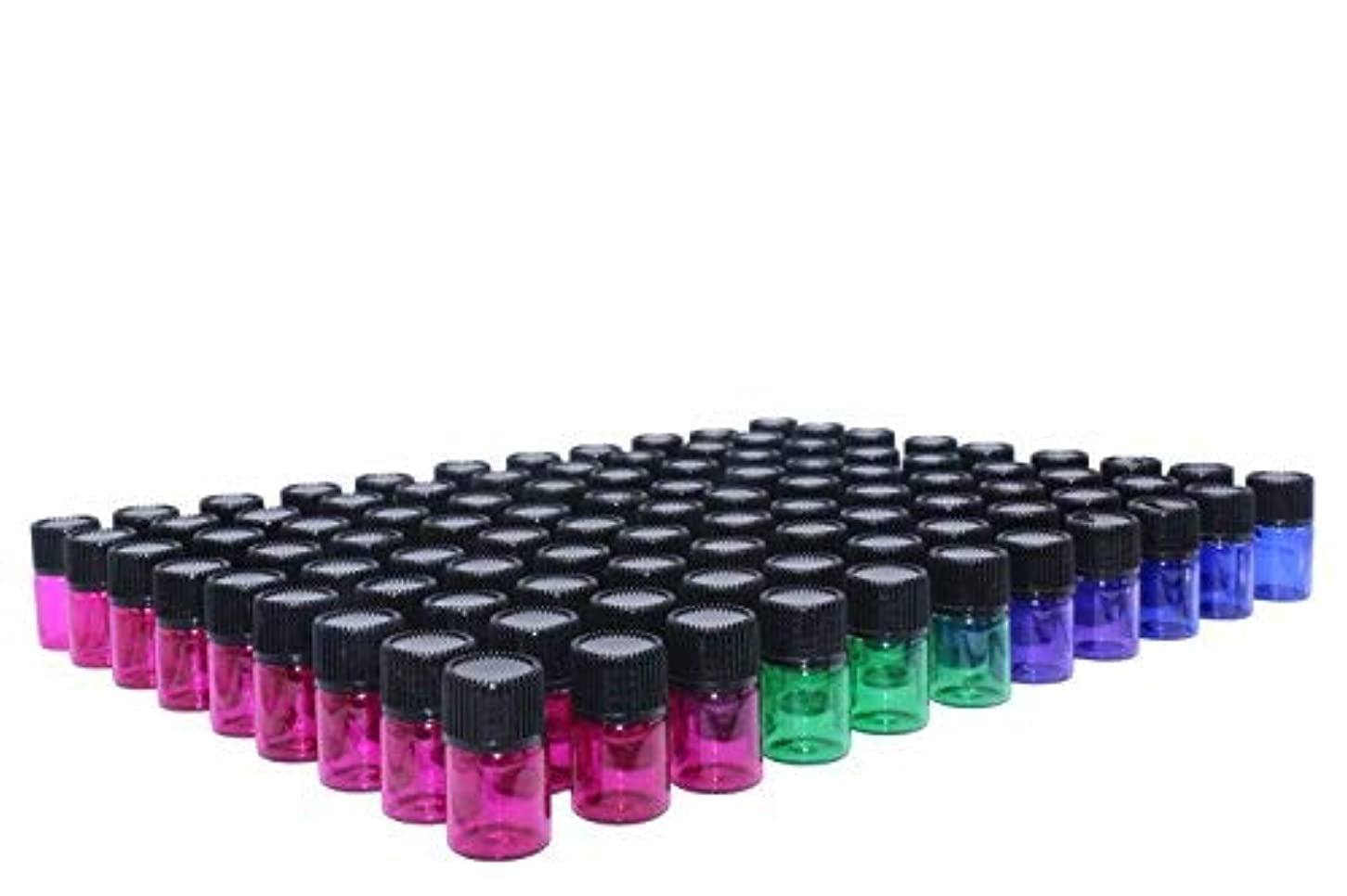 Wresty 2 ml(5/8 dram) Essential Oil Bottle,100 Packs Blue Green Pink Purple Glass Vials with Orifice Reducers...