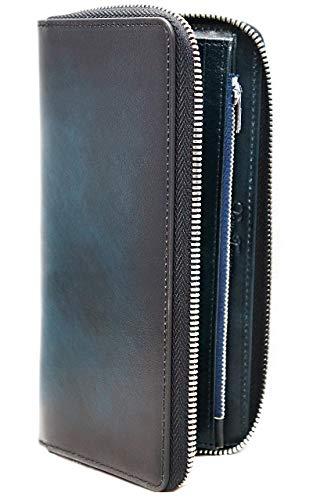 [BlissLeather] [一流のイタリア製グラデーションレザー]高級 本革 長財布 ラウンドファスナー ヌメ革