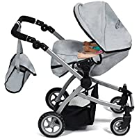 Cinderella USA Babyboo Deluxe Double Doll Stroller Grey & Black