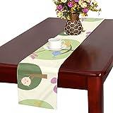 LKCDNG テーブルランナー 緑の春 木の葉 アニメーションとんぼ クロス 食卓カバー 麻綿製 欧米 おしゃれ 16 Inch X 72 Inch (40cm X 182cm) キッチン ダイニング ホーム デコレーション モダン リビング 洗える