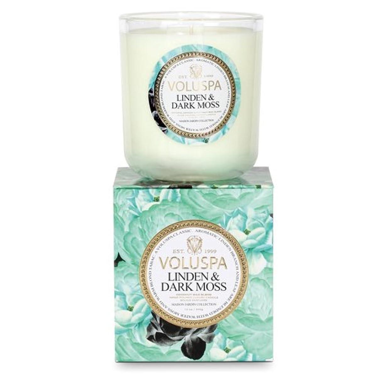 瞑想する効能ある物足りないVoluspa ボルスパ メゾンジャルダン ボックス入りグラスキャンドル リンデン&ダークモス MAISON JARDIN Box Glass Candle LINDEN & DARK MOSS