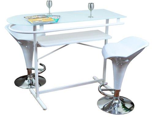 強化ガラスカウンターテーブル×カウンターバーチェア艶ダックデザイン(2脚)3点セット ホワイト(白)