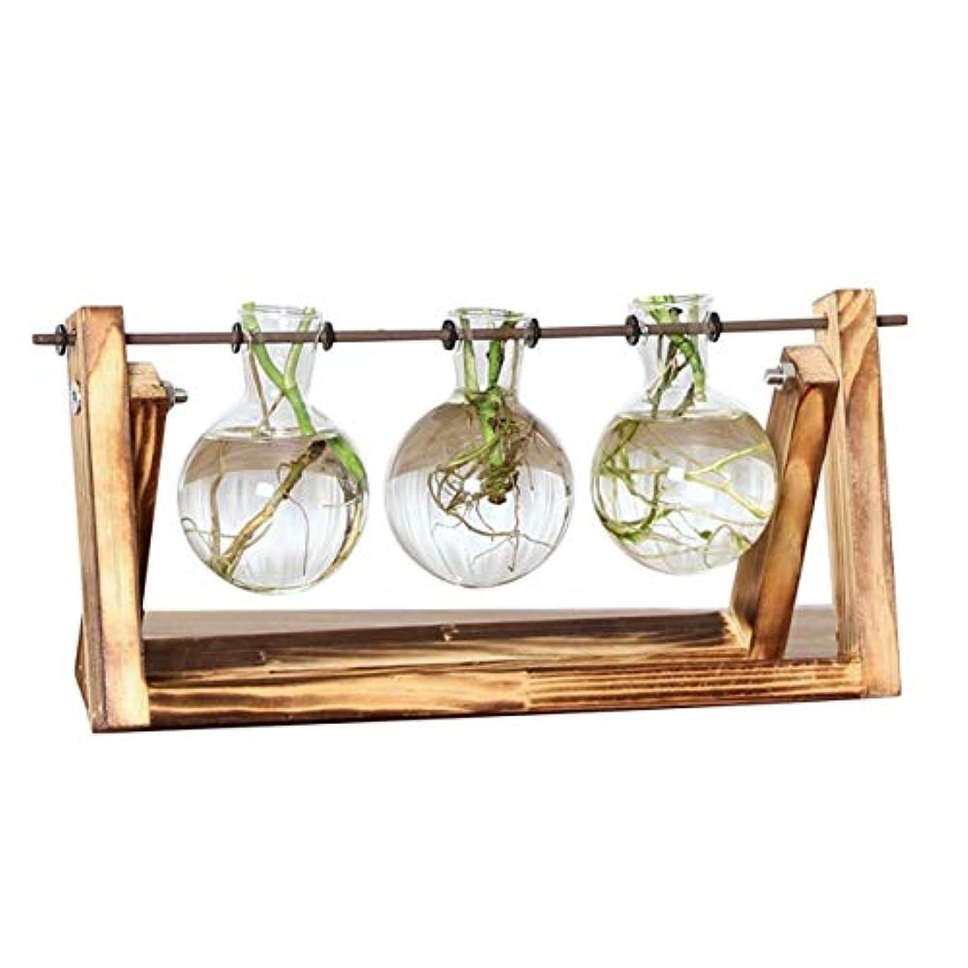に対して見つけた傾向がありますSaikogoods デスクトップグラスプランター 水耕栽培プラント用電球の花瓶 レトロソリッド木製スタンド メタルスイベルホルダー ホームオフィスインテリア クリア&ウッド レトロ