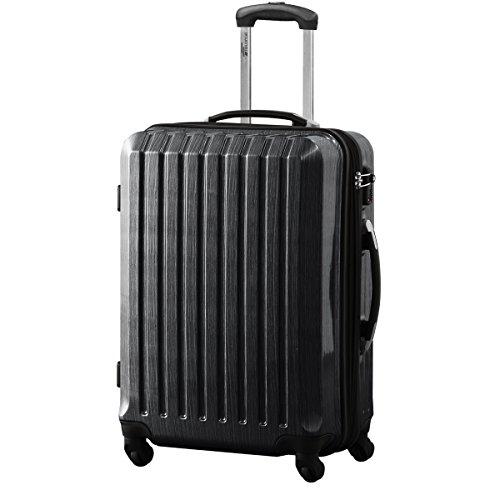 スーツケース TSAロック搭載 軽量 アルミフレーム 鏡面ヘアライン仕上げ ・約66x46x32cm・4.0kg・69~76リットル ブラック M