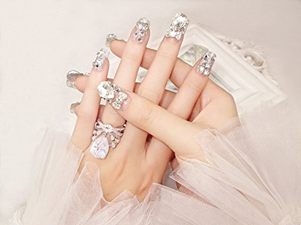 デッド他の日からに変化する花嫁ネイル 手作りネイルチップ ラインストーンリボンが輝く フルチップ シンプル ネイルチップ24枚セット 人造ダイヤモンド 両面接着テープ付き 結婚式、パーティー、二次会などに ジルコン (A37)