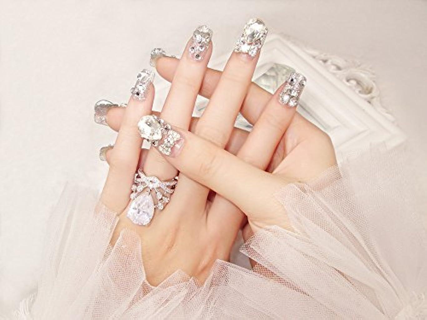 疎外する野なり花嫁ネイル 手作りネイルチップ ラインストーンリボンが輝く フルチップ シンプル ネイルチップ24枚セット 人造ダイヤモンド 両面接着テープ付き 結婚式、パーティー、二次会などに ジルコン (A37)