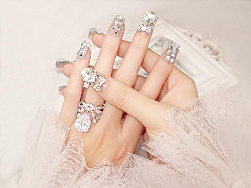 社会主義司令官タブレット花嫁ネイル 手作りネイルチップ ラインストーンリボンが輝く フルチップ シンプル ネイルチップ24枚セット 人造ダイヤモンド 両面接着テープ付き 結婚式、パーティー、二次会などに ジルコン (A37)
