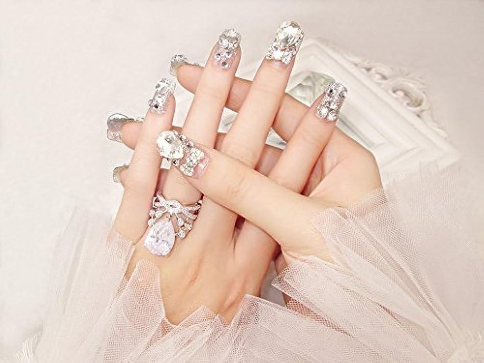 医療の耐えられる統計花嫁ネイル 手作りネイルチップ ラインストーンリボンが輝く フルチップ シンプル ネイルチップ24枚セット 人造ダイヤモンド 両面接着テープ付き 結婚式、パーティー、二次会などに ジルコン (A37)