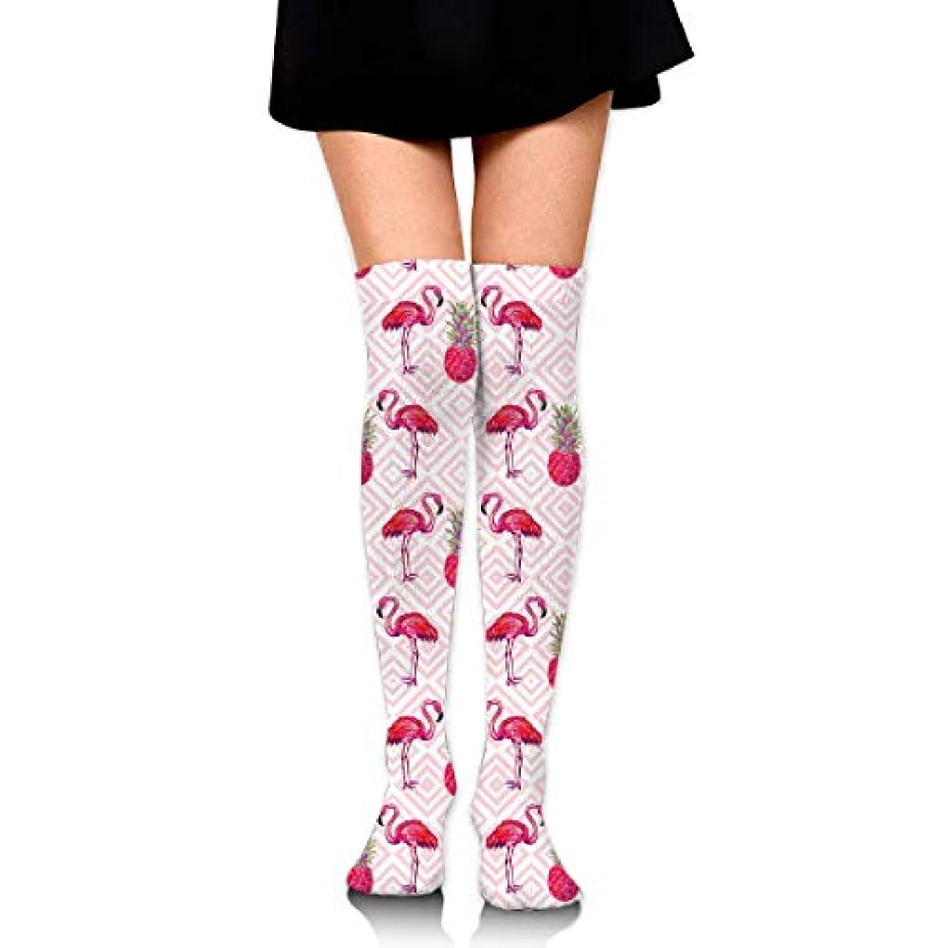 スクラッチコミュニケーションワーカーMKLOS 通気性 圧縮ソックス Breathable Classic Warmer Tube Leg Stockings Pink Flamingo Pineapple Exotic Psychedelic Print...