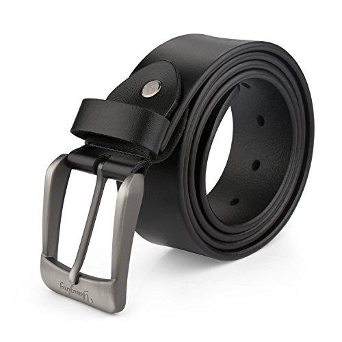 YAUGING レザーベルト メンズ ベルト ビジネス ベルト メンズファッション ベルト 本革  調整可能 デザイン 牛革 黒 ブラック (110CM)