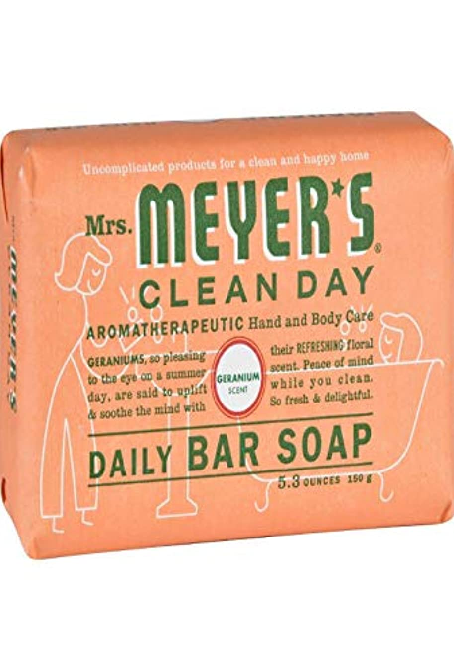 面倒直面するキャプテンブライMrs. Meyers Bar Soap - Geranium - 5.3 oz - 1501071