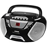 Lenoxx Cd Player and Cassette Player | Led | 3.5mm AUX | Fm Radio with Antenna | 10-Watt Speakers | Portable and Travel-Friendly | Battery Operated