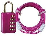 アメリカ安全運輸局認定 TSA 4ダイヤルロック 鍵 (1.8m ワイヤー 付き) newピンク 237096