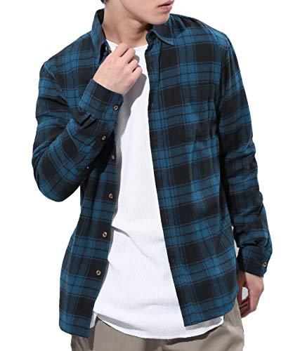 JIGGYS SHOP (ジギーズショップ) チェックシャツ メンズ 長袖 腰巻 サーフ系 ネルシャツ スリム シャツ 細身 秋服 XL ネイビー×ネイビー