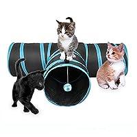 3ウェイ 猫のトンネル インタラクティブ 遊びます ネコ チューブ おもちゃと ボールとクリンルル 音 折りたたみ可能 拡張可能 ペットトンネル と 猫のための覗き穴、 子犬、 キティ、 子猫、 ウサギ。 Cacoffay,Blue