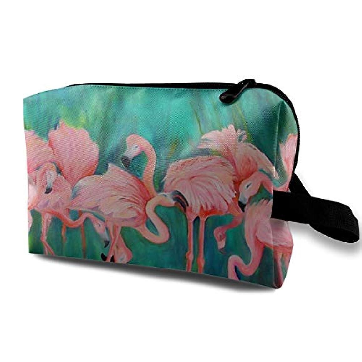 腸一反対したPink Flamingos 収納ポーチ 化粧ポーチ 大容量 軽量 耐久性 ハンドル付持ち運び便利。入れ 自宅?出張?旅行?アウトドア撮影などに対応。メンズ レディース トラベルグッズ