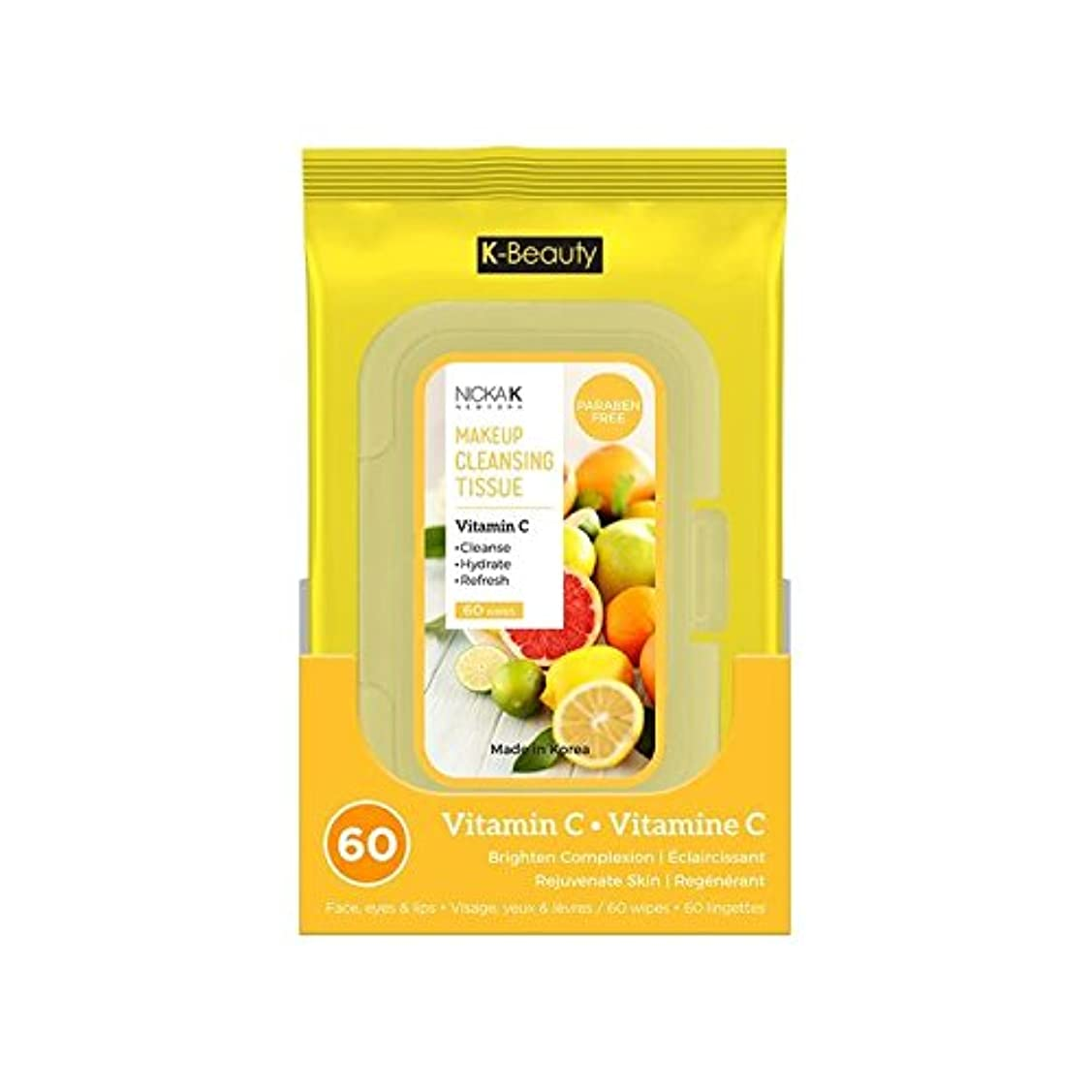 グラフィック銛不健康(6 Pack) NICKA K Make Up Cleansing Tissue - Vitamin C (並行輸入品)