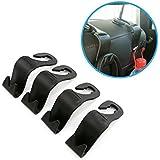 UTSAUTO 4 Pack Universal Seat Back Car Hooks Headrest Hooks Hanger For Coat Bag Purse Umbrella