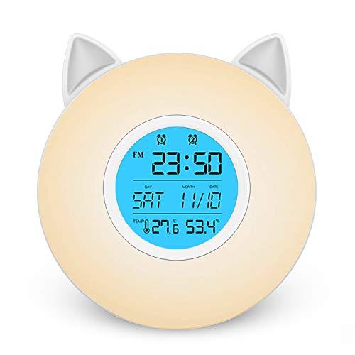 目覚まし時計 光 LEDライト Helius 目覚ましライト ベッドサイドランプ 小型 LEDデスクライト Wake Up Light 置き時計 デジタル時計 温度湿度計 ベッドライト テーブルランプ 常夜灯 ベッドサイドクロック卓上 スタンドライト デスクスタンド ランプシェード ナイトライト デジタル めざまし時計 大音量 ウェイクアップライト アラーム スヌーズ機能 間接照明おしゃれ電気スタンド 照明スタンド 3段階調光 七色切り替え 室内寝室 夜間ライト読書灯 屋外携帯 停電対策 おしゃれ 電波 FMラジオ搭載 USB/電池給電
