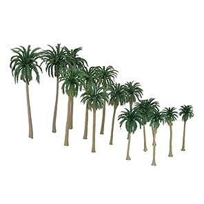 【ノーブランド品】鉄道模型 箱庭用 プラスチック製 椰子の木 7‐16cm 5サイズミックス 15本
