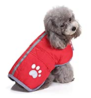ペットの猫と犬の服、赤い反射靴、ノースリーブのジャケット、暖かくて快適なペット服 (Size : M)