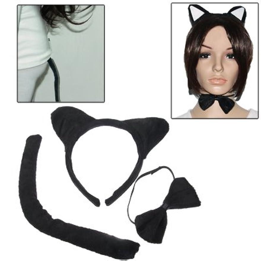 禁止究極の花束Hairpinheair YHMアニマルピースセットネコ耳カチューシャ蝶ネクタイピースセット(ブラック)
