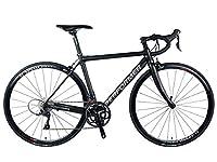 *Pro-Performer プロパフォーマー*〈SAKii〉700C ロード バイク 全カーボン Shimano Tiagra 30speed Road Bike (黒銀, 49)