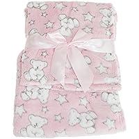 (スナグル?ベビー) Snuggle Baby 赤ちゃん?ベビー用 テディーベアとスター ベビーブランケット 毛布 ショール (100cm x 75cm) (ピンクテディ/スター)
