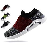 Jabasic Mens Ultra-Sock Knit Running Sneaker Breathable Athletic Slip On Walking Shoes