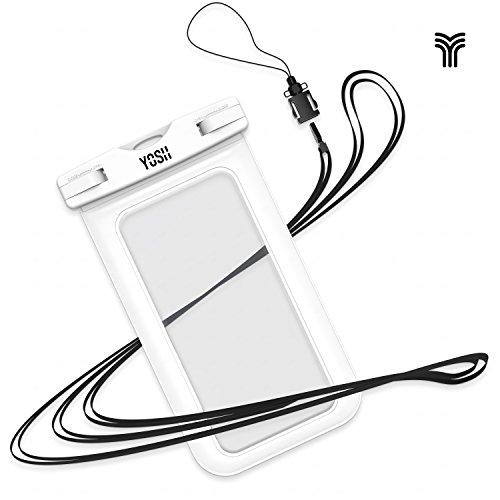防水ケース YOSH®携帯防水ケース スマホ防水ポーチ 透明パック iPhone Sony Samsung Huaweiなど6インチ以下全機種対応 ネックストラップ付属 IPX8認定   Lifetime Warranty お風呂 海 ダイビング 温泉 水泳など適用 ホワイト