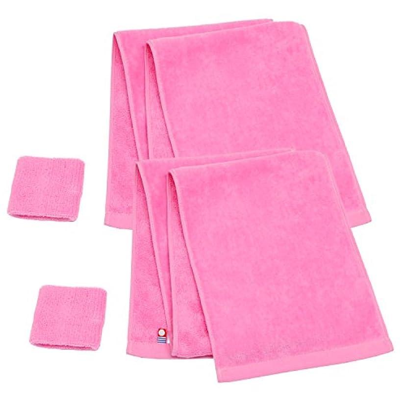 モンク右指紋今治産マフラータオル+リストバンド ピンク2枚セット