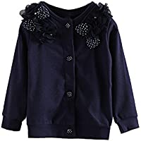 LittleSpring Little Girls Outerwear Flower Bowknot Button