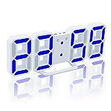 EAAGD 多機能 電子 3D 8888 LEDデジタル目覚まし時計 掛け時計、12H / 24H時間表示 自動調節可能のLED明るさ 家の装飾卓上時計 (ホワイト本体+ブルーレイ)