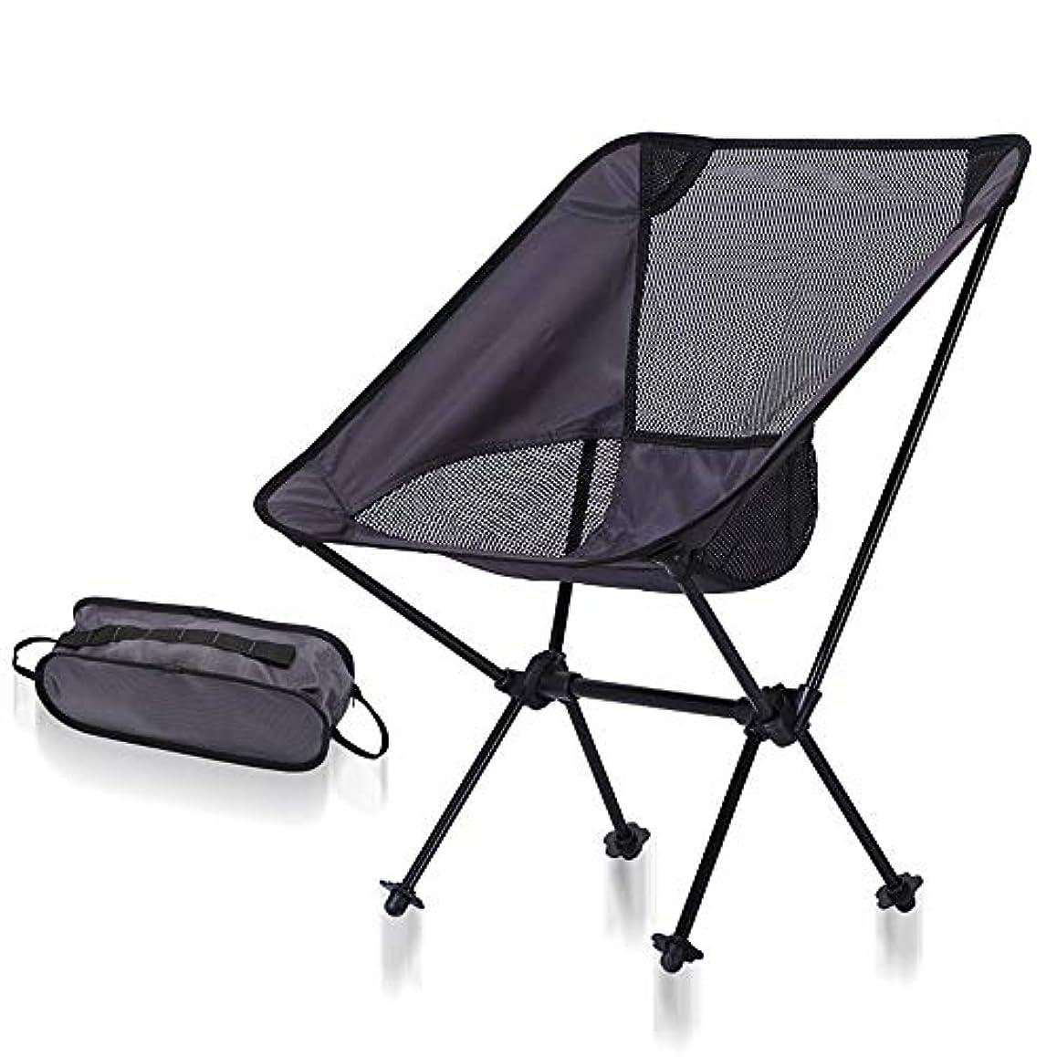 刺すバレエベテラン屋外のキャンプのビーチのための軽量の携帯用折るラウンジチェアハイキングの釣り、サポートおよび慰めを提供して下さい アウトドア キャンプ用 (色 : Dark gray+black net)