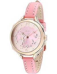可愛いウサギ ガールズ レディース腕時計,fq062 ピンク本革ベルト 女子学生 ウォッチ ローズゴールドウォッチカバー